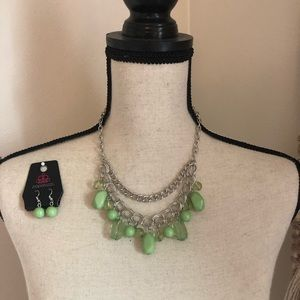 Green beaded Necklace and Earring set